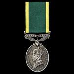 Efficiency Medal, GVI 1st type bust, Territorial suspension named to Private C. Brunning, Queens ...