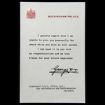 Buckingham Palace forwarding letter for the award of the Military Cross awarded to Lieutenant lat...