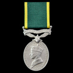 Efficiency Medal, GVI, 1st type awarded to Corporal J.R. Crowe, 7th Battalion, Royal Welsh Fusili...