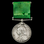 Volunteer Force Long Service Medal, Victoria Regina bust, unnamed as issued. Mounted on wearing b...