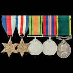 Second World War North West Europe and Territorial long service group awarded to Bombardier R.W. ...