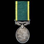 Efficiency Medal, GVI 1st type bust, Territorial suspension, awarded to Private L.J. Kingaby, Sur...