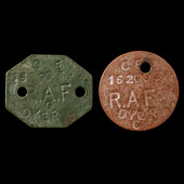 Second World War issue pair of identity discs, stamped up to and as worn by a serviceman in the R...