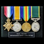 Great War Western Front October 1915 casualty and inter-war Territorial long service group awarde...