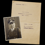 Germany – Third Reich: A fascinating document group including a rare WW2 copy of recommendation f...