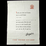 Home Guard Certificate of Service issued to Ernest Hamer, who served with the Home Guard from 25t...