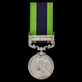 India General Service Medal 1908-1935, 1 Clasp: North West Frontier 1935, awarded to Private J. M...