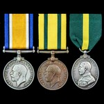 Great War India service Territorial Force War Medal and Efficiency Medal group awarded to Gunner ...