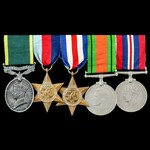 Second World War North West Europe and Territorial long service group awarded to Gunner C.S.E. Gu...
