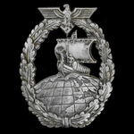 Germany - Third Reich: Kriegsmarine Auxiliary Cruiser Badge, mid-late war zinc form of one-piece ...