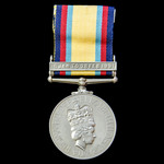 A scarce Gulf Medal 1990-1991, Clasp: 16 Jan To 28 Feb 1991, awarded to Sergent N.N. Ongioiu, Spe...