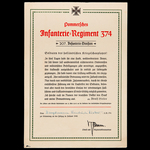 Germany – Third Reich: A Very Rare Regimental Commemorative Certificate as awarded to Hauptmann F...