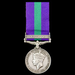 General Service Medal 1918-1962, GVI, 2nd type bust, 1 Clasp: Malaya awarded to Private J. Cooper...