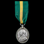 Territorial Force Efficiency Medal, GVR bust, awarded to Private J. Woodcock, Sussex Yeomanry, Te...