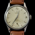An important Gentleman's 1950's period Omega white metal wrist watch as officially presented by t...
