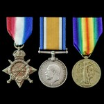 Great War 1914-1915 trio awarded to Private W. Spooner, 1st Battalion, Middlesex Regiment, later ...
