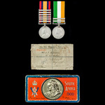 Boer War pair awarded to Private T.P. Robertson, Imperial Light Infantry and later Trooper, Imper...