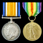 Great War pair awarded to Ordinary Telegrapher A. Robertson, Royal Naval Volunteer Reserve, who s...