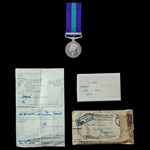 General Service Medal 1918-1962, GVI 1st type bust, 1 Clasp: Palestine, complete with box of issu...