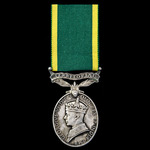 Efficiency Medal, GVI 1st type bust, Territorial suspension, awarded to Private W.M. Hart, Queen'...