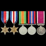 Second World War North West Europe campaign and Regular Army long service group awarded to Batter...