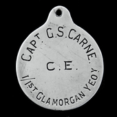 A Great War officer's identity as worn by Captain G.S. Carne, 1/1st Glamorgan Yeomanry, who saw s...