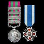 India General Service Medal 1895-1902, 4 Clasps: Relief of Chitral 1895, Punjab Frontier 1897-98,...