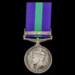 General Service Medal 1918-1962, GVI, 1 Clasp: Palestine 1945-48 awarded to Guardsman W. Harris, ...