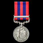 India General Service Medal 1854-1895, 1 Clasp: Perak awarded to Private A. Harrington, 1st Batta...
