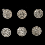 Livery Buttons, set of six, silver brass, with rampant griffin, all makers marked 'Pitt & Co'.