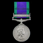 Campaign Service Medal 1962, 1 Clasp: South Arabia awarded to Trooper R.J. Weekes, 5th Inniskilli...