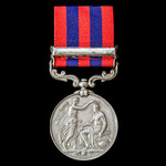 India General Service Medal 1854-1895, 1 Clasp: Perak awarded to Private R. Harrison, 1st Battali...