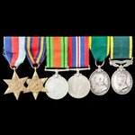 Second World War Burma and double Territorial long service group awarded to Sergeant G. Barnes,  ...