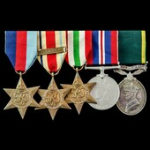 Second World War North Africa 8th Army and Italy Territorial long service group awarded to Gunner...