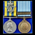 Korea Medal pair awarded to Trooper H. Hyams, 5th Dragoon Guards who saw service during the Korea...