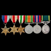 Second World War Middle East and Italian Campaign and Territorial long service group awarded to C...