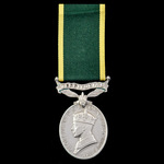 Efficiency Medal, GVI 1st type bust, Territorial Suspension awarded to Private J.L. Slatter, Quee...