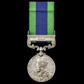 India General Service Medal 1908-1935, 1 Clasp: North West Frontier 1930-31, awarded to Private E...