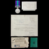 General Service Medal 1918-1962, GVI 1st type bust, 1 Clasp: Palestine, with box of issue and sup...