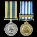 Korea Medal pair awarded to Trooper W.S. French, 5th Dragoon Guards who saw service in Korea duri...