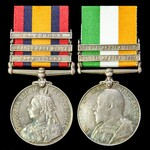 South Africa Boer War pair awarded to Private P.W. Harrison, East Kent Regiment - the Buffs, who ...