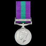 General Service Medal 1918-1962, GVI 1st type bust, 1 Clasp: Palestine, awarded to Rifleman G.W. ...