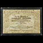 Charles Dickens Funeral Card, an original, printed by Mullord Bro. Commemorating the death of 'En...