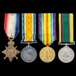 Great War Western Front and Egypt, and Cadet Forces Medal group awarded to Lieutenant formerly Ac...
