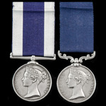 The extremely rare wide suspension Royal Navy Long Service and Good Conduct Medal and Royal Marin...