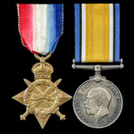 Great War Battle of the Somme Delville Wood Casualty 1914-1915 Star and British War Medal pair aw...