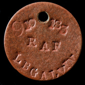 Second World War Single Royal Air Force identity disc, stamped: '9101833 L B GALVIN RAF', as worn...