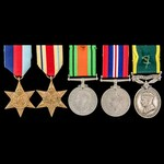 Second World War North Africa and Territorial long service group awarded to Corporal C.J. Conord,...