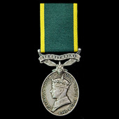 Efficiency Medal, GVI 1st type bust, awarded to Warrant Officer 2nd Class F.W. Paveley, Royal Arm...