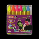 UV Gear Blacklight UV-Reactive Neon Fluorescent Glow body crayons set - 6 colour